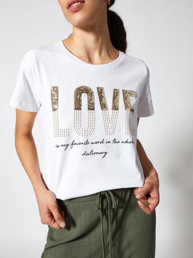 Camiseta manga corta LOVE técnica mixta Blanco Optico