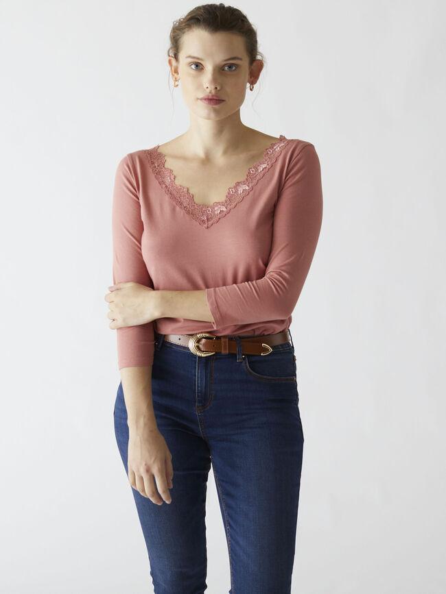 Camiseta detalle encaje rose flush