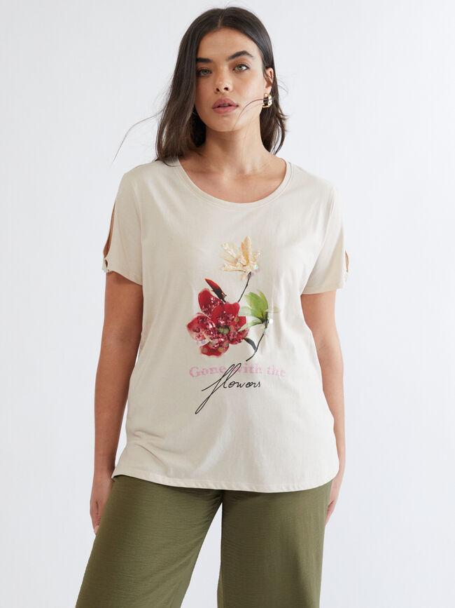 CAMISETA FLOWERS Crema image number null