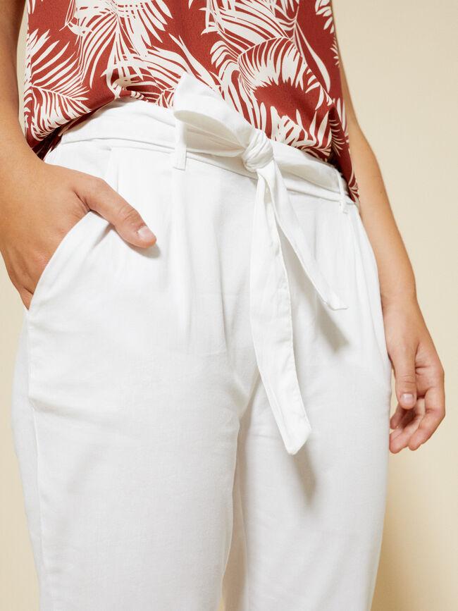 Pantalón detalle lazo Blanco
