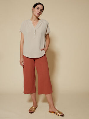 BLUSA ESTILO POLO Beige Chambray image number null