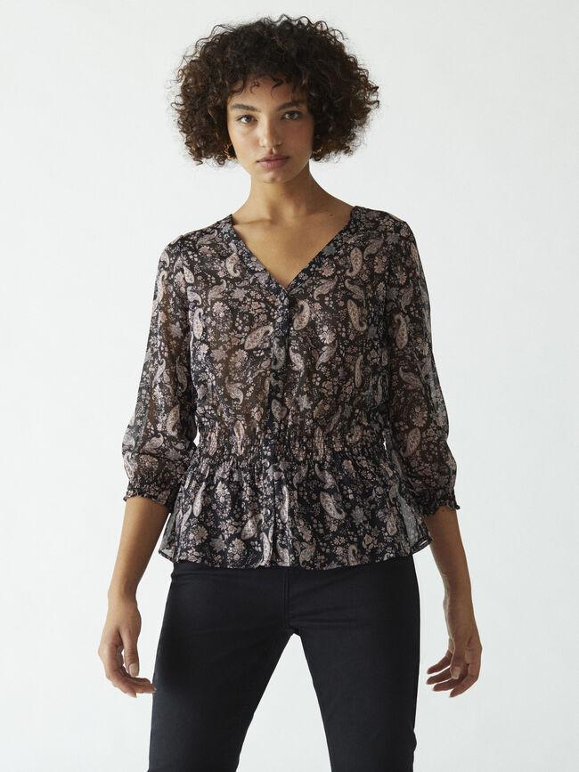 Blusa estampada con cintura elástica Rosa image number null