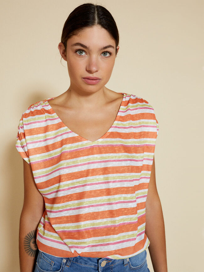 camiseta m/c rayas Naranja