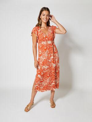 Vestido largo escote V cruzado y mangas Naranja Pomelo image number null
