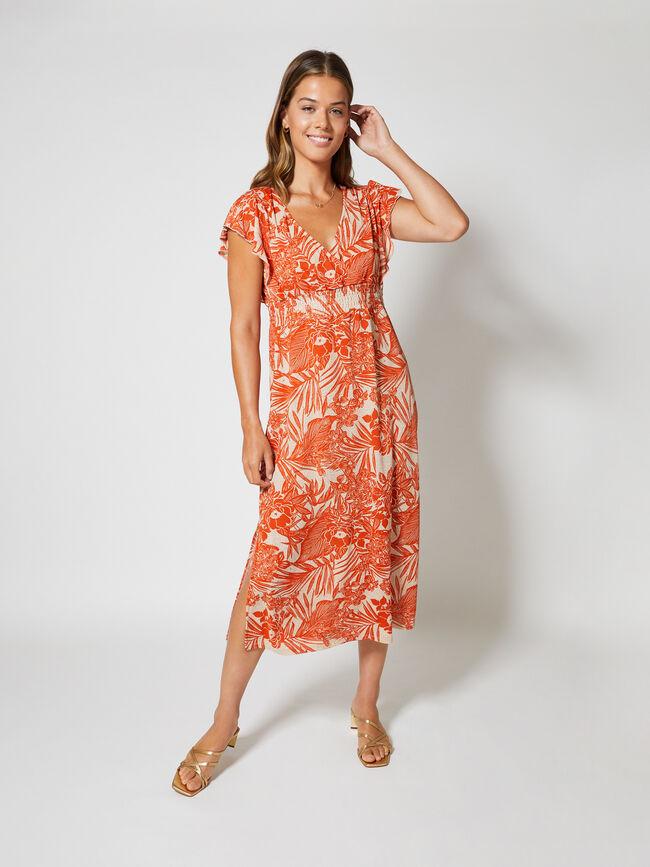 Vestido largo escote V cruzado y mangas Naranja Pomelo