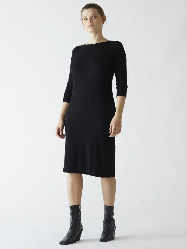 Vestido punto liso Negro image number null