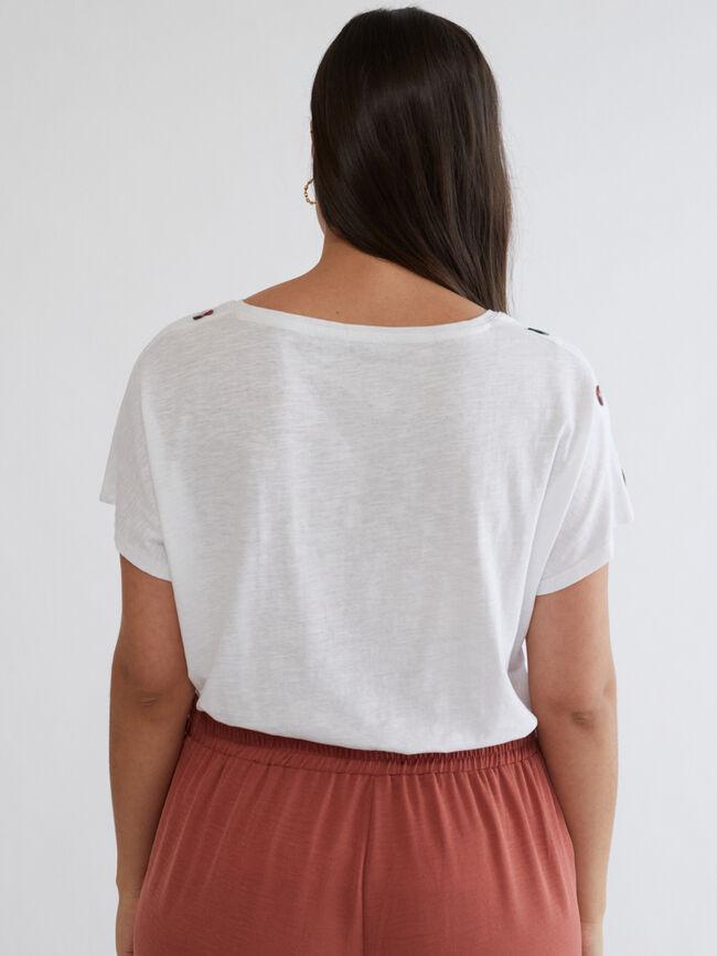 Camiseta botones hombros Blanco Optico image number null