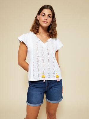 Camiseta m/c pompon Blanco Optico image number null