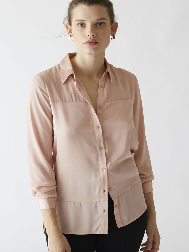 Blusa panel jacquard Rosa image number null