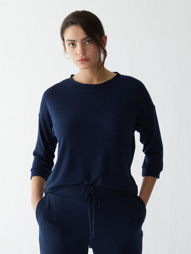 SUDADERA LISA Azul Marino