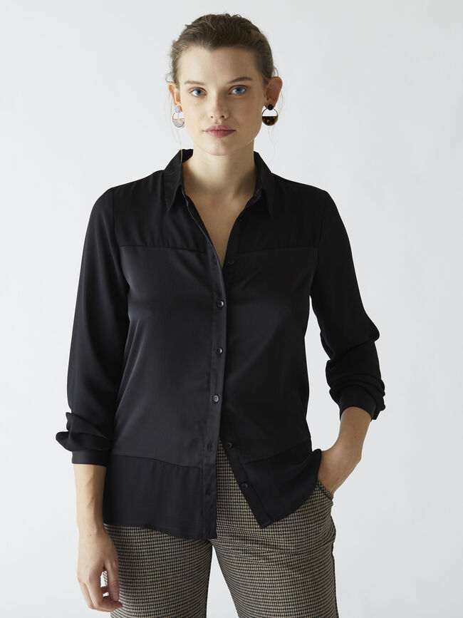 Blusa panel jacquard Negro image number null