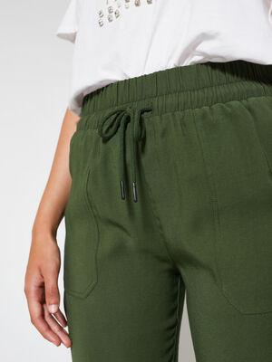 Pantalón fluido con puño de goma kaki oscuro image number null