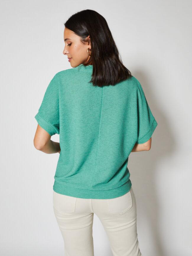camiseta con puño en el bajo Verde Porcelana