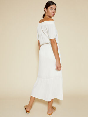 Vestido mesonera de manga corta Blanco Optico image number null
