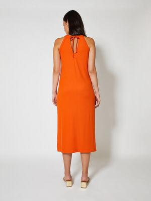 Vestido canale cuello halter Naranja image number null