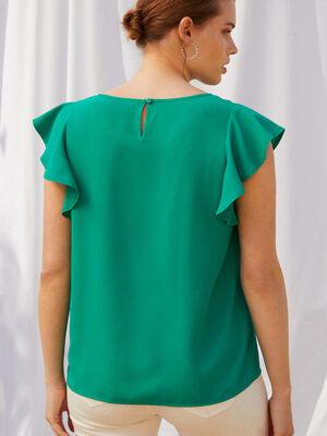 BLUSA DETALLE VOLANTE Verde Tiffany image number null