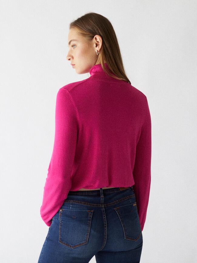 Jersey punto cuello alto Frambuesa
