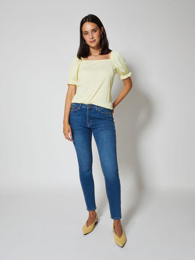camiseta escote cuadrado con volante Amarillo Pastel