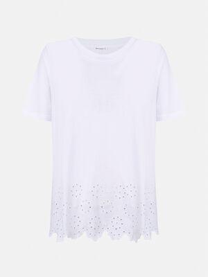Camiseta manga larga bajo con bordado su Blanco Optico image number null