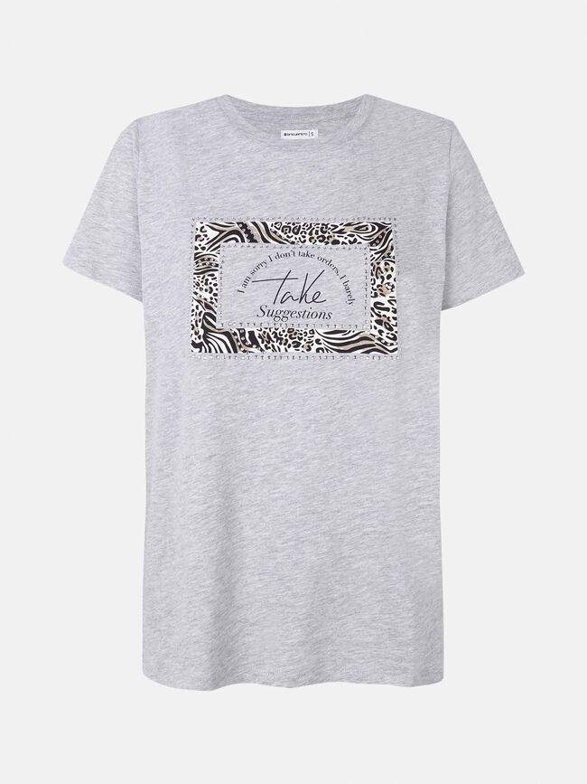 Camiseta manga corta gris con recuadro a GrisVigoreClaro
