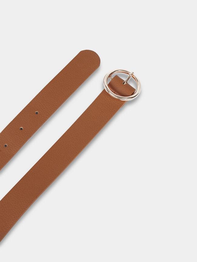 Cinturon basico hebilla redonda Camel