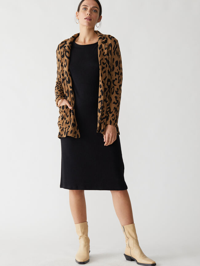 Americana punto estampado leopardo Negro image number null