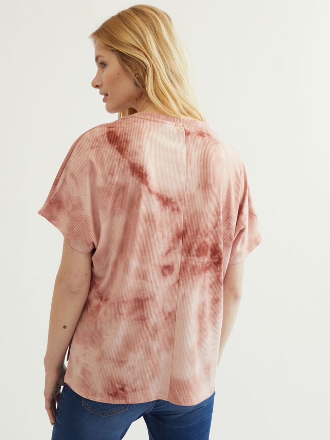 camiseta cuello pico canale tie dye Rosa image number null
