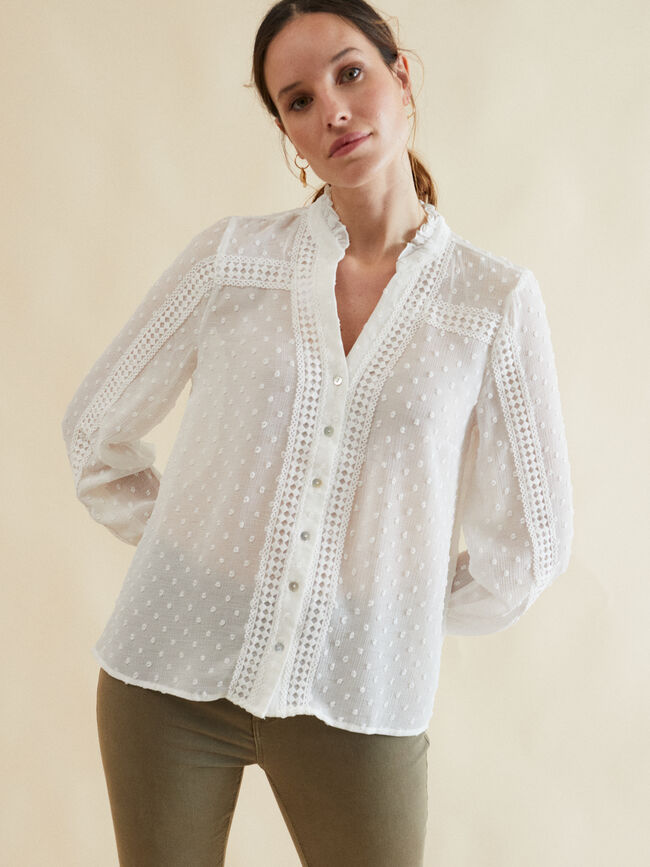 BLUSA ESTRUCTURA DETALLE CROCHET Blanco Optico image number null
