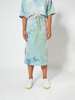 falda midi tie dye Celeste image number null