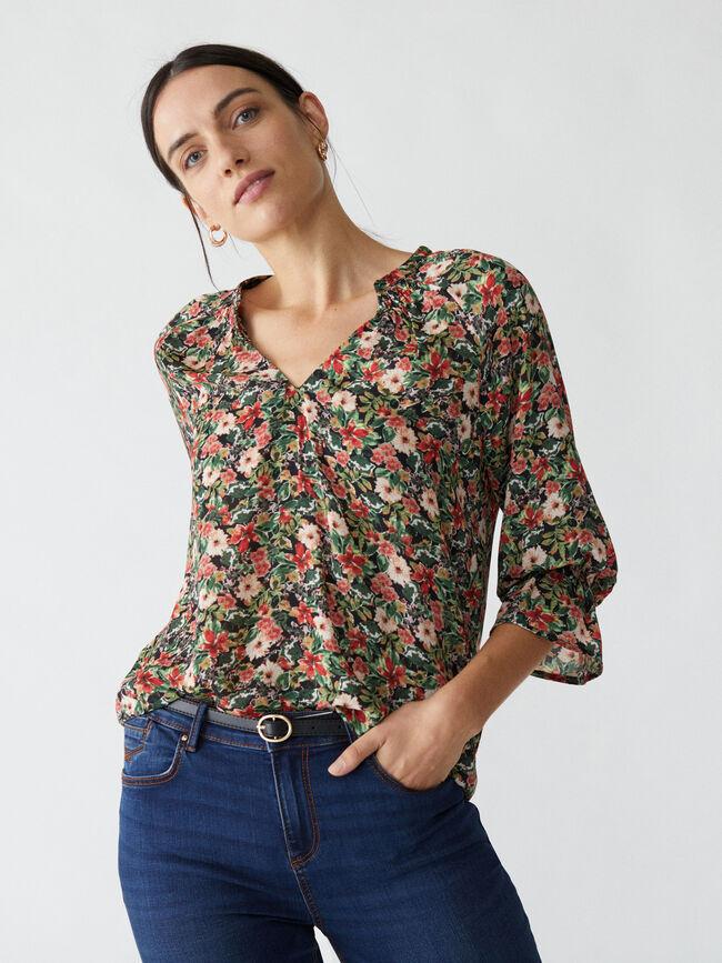 Blusa estampado floral frunces Negro image number null