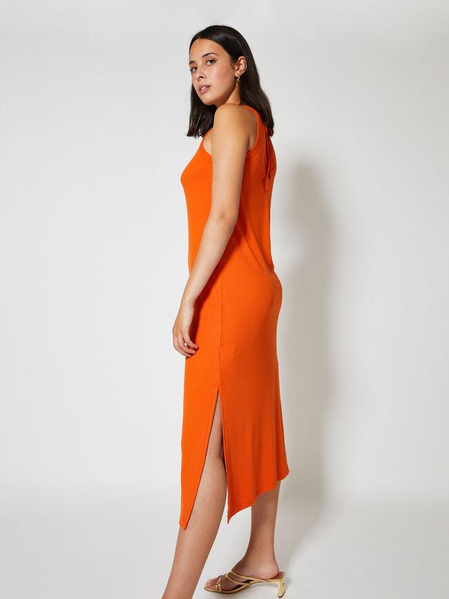 Vestido canale cuello halter Naranja
