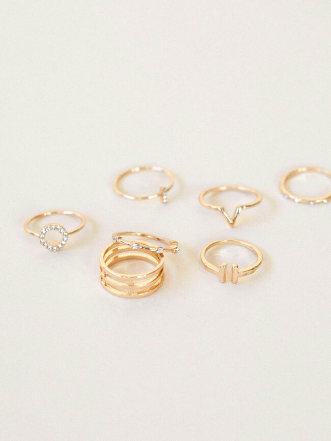 PACK ANILLOS STRASS Oro image number null