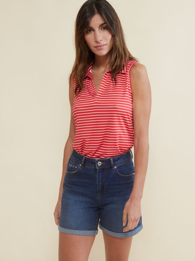 top con cuello polo coral Shell