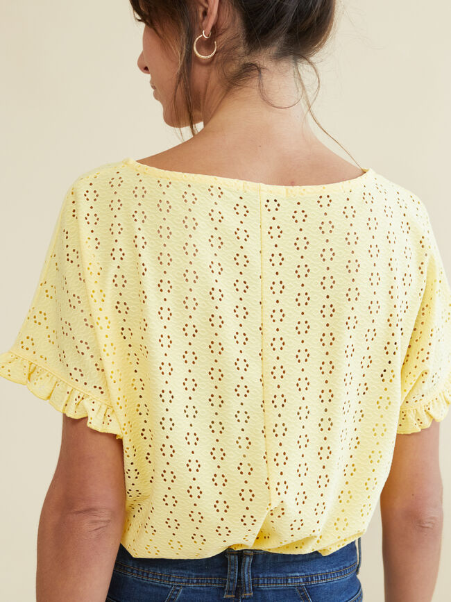 CAMISETA BORDADA Amarillo Pastel