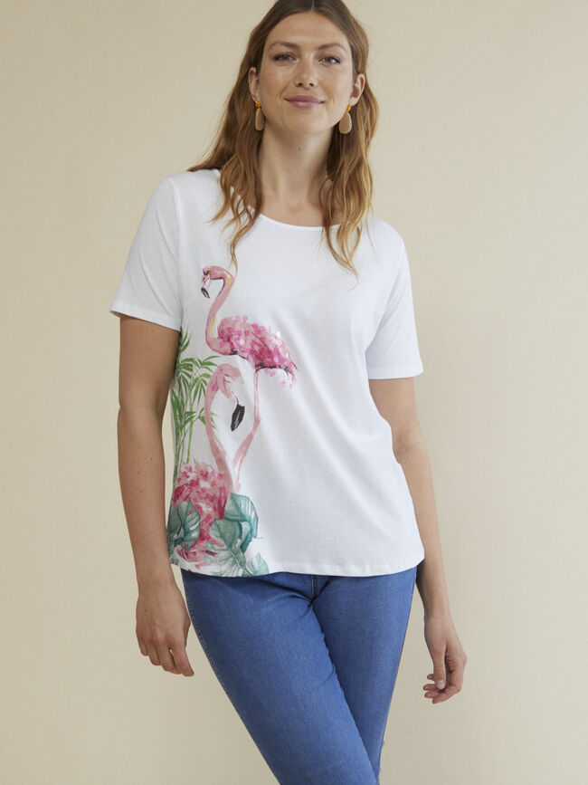 CAMISETA FLAMENCO Blanco Optico image number null