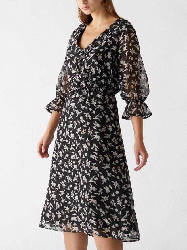 Vestido volante estampado floral Negro