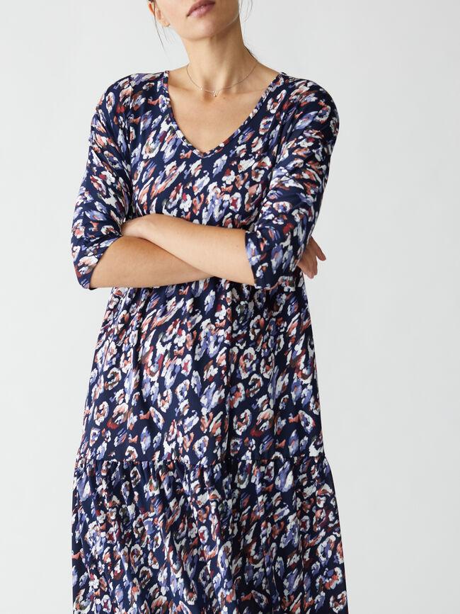 Vestido estampado leopardo Azul Marino image number null