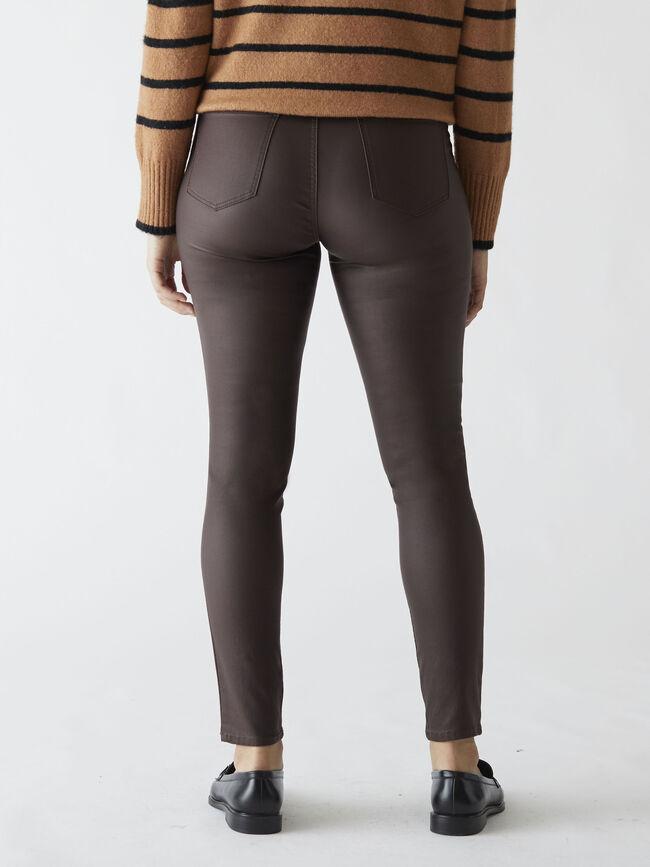 Pantalón jegging coated skinny fit Marron image number null