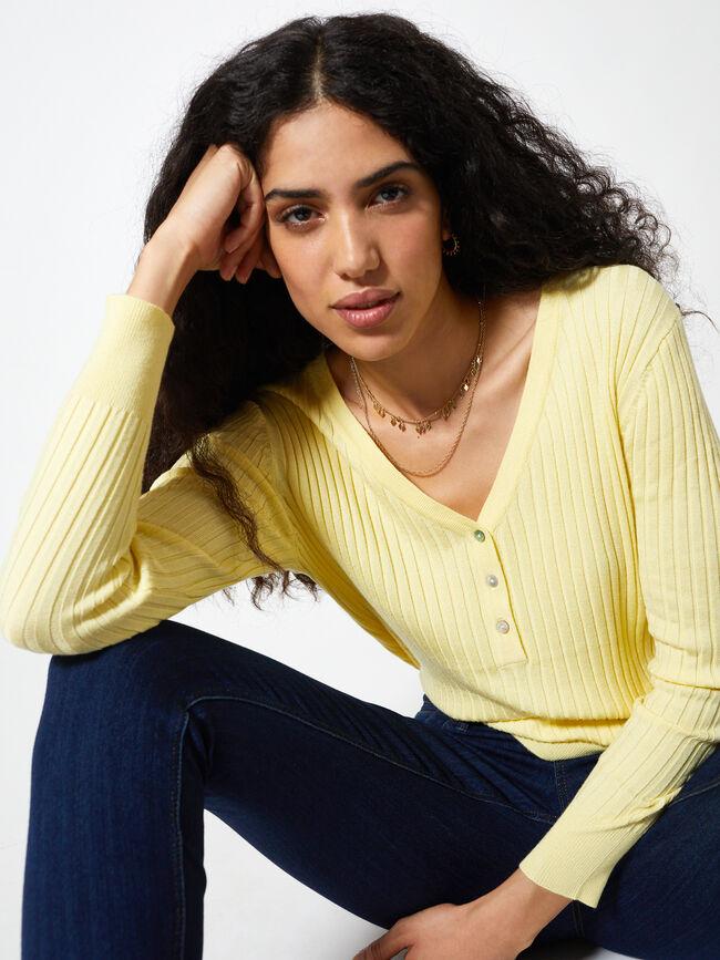 jersey canale botones Amarillo Pastel