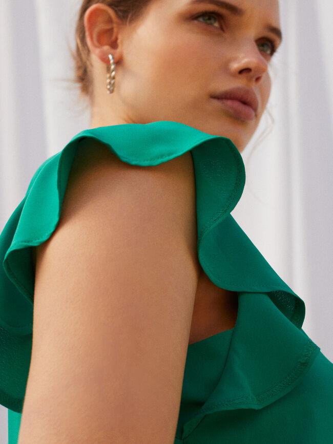 BLUSA DETALLE VOLANTE Verde Tiffany