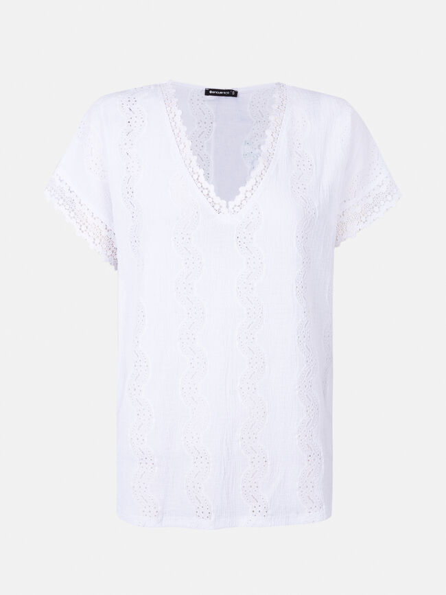 Camiseta M/C bordado a contraste Blanco Optico