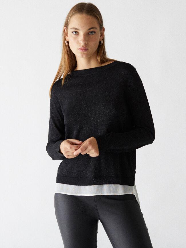 Jersey punto combinado blusa Negro image number null