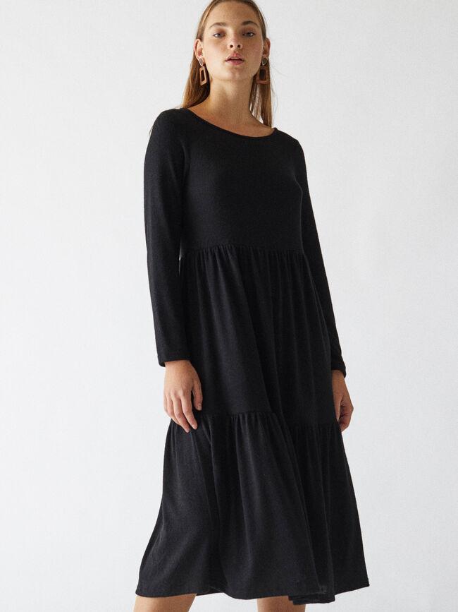 vestido largo m/l volante ancho Negro