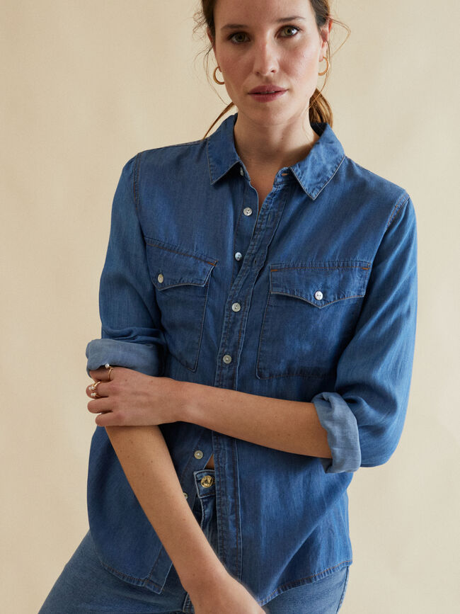 CAMISA DENIM Mid Blue Wash