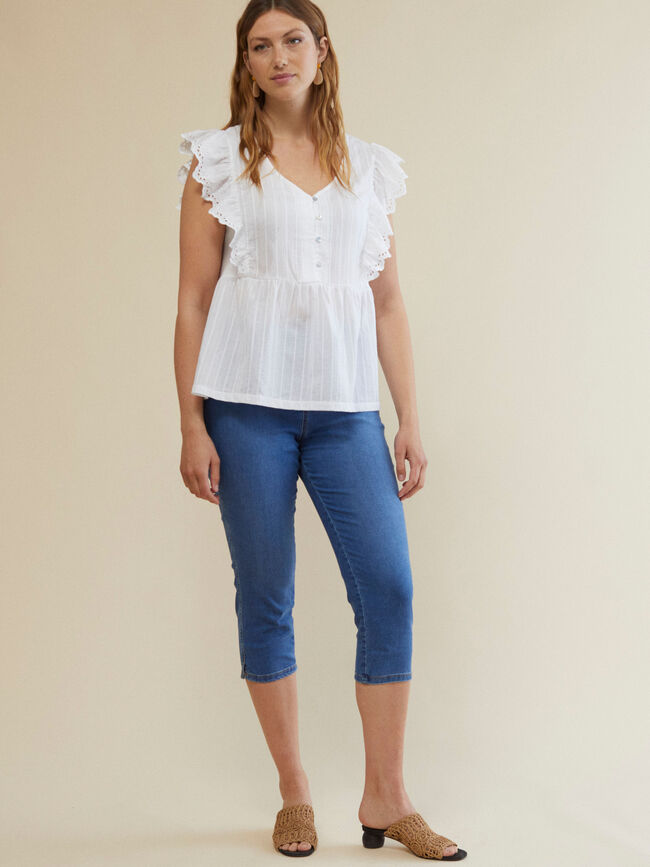 PANTALÓN JEGGING CAPRI FIT Mid Blue Wash image number null