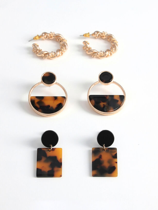 Pack pendientes carey Marron image number null