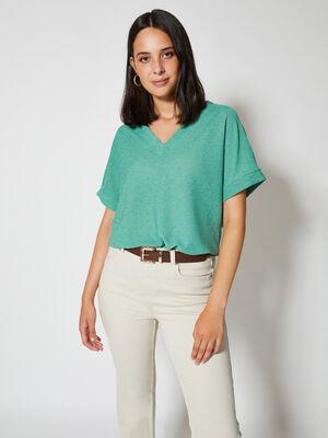 camiseta con puño en el bajo Verde Porcelana image number null