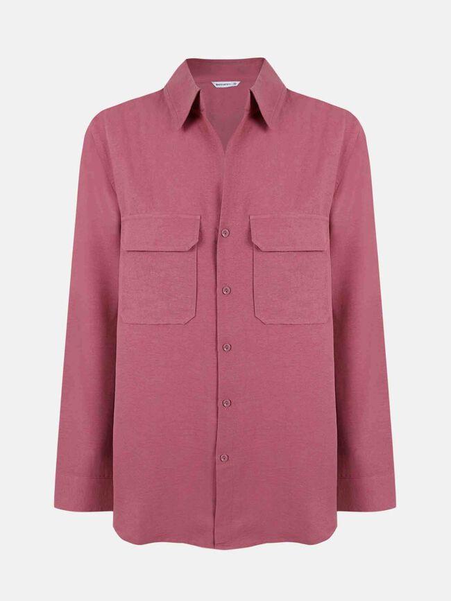 Camisa con bolsillos Rosa Oscuro