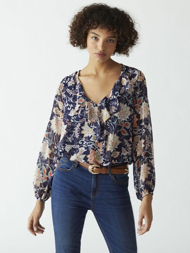 Blusa estampada detalle volante Azul Marino