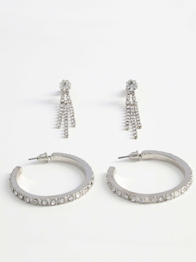 Pack pendientes strass Plata image number null